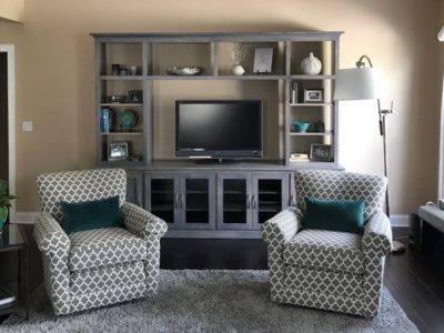 Custom shaker entertainment center & 514 Swivel Gliders